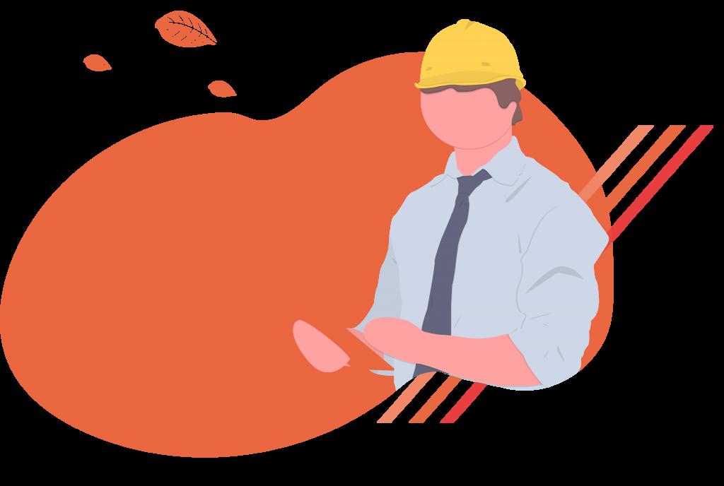 Illustration d'un homme d'affaire portant un casque de chantier